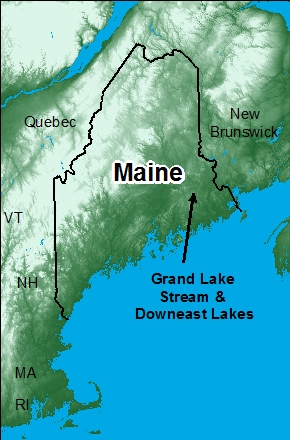 Map, Downeast Lakes in Maine