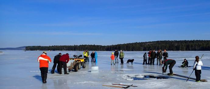 Harvesting ice on West Grand Lake