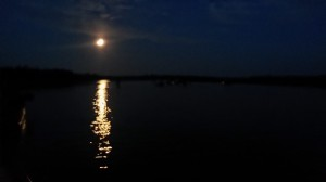 Paddlers returning home by the light of the moon on Big Musquash