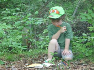 Nathaniel Mercier considers the forest as he make notes in his journal.