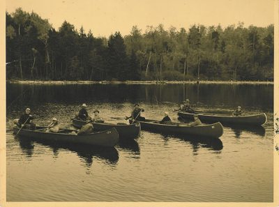 Old photo of canoe trip on Grand Lake Stream