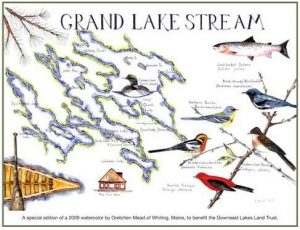 "Special Edition Print (19"" x 24"") of a Grand Lake Stream watercolor by artist Gretchen Mead of Whiting."